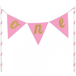 One, tårtdekoration (rosa)
