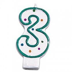 3, grönt sifferljus