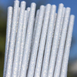 Klubbpinnar 15 cm, 50 st - silver fairy dust (Yo)