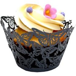 Butterflies, svarta cupcake wraps