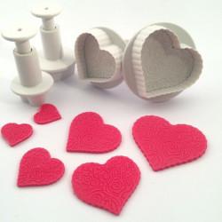 Hjärtan m mönster, 4 st utstickare m ejector
