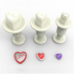 Hjärtan, 3 st utstickare m ejector