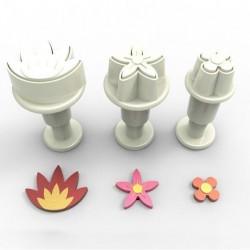 Blomma, 3 st mini utstickare m ejector