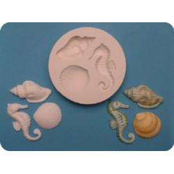 Sjöhäst och snäckor, silikonform