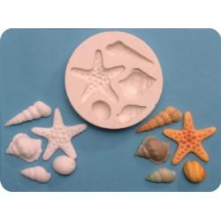 Sjöstjärna och snäckor, silikonform