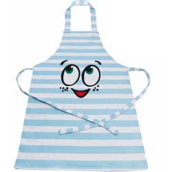 Happy Baking, blått barnförkläde (randigt)